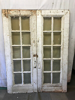 Pair of Interor Wood French Doors with 10 Beveled Glass Lite Vintage Doors 61x82