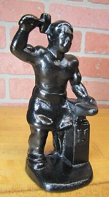 Antique Cast Iron BLACKSMITH FOUNDRY IRON WORKER w ANVIL Doorstop Bookend Statue