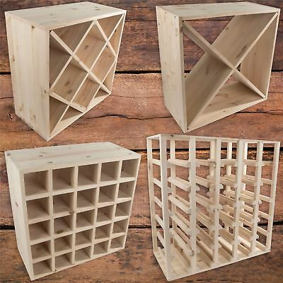 Selection of Natural Wooden Wine Racks Storage Holder 24 to 30 Bottle Capacity