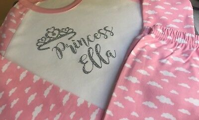 Personalised pink Princess crown silver glitter Pjs Pyjamas Flower Girl,