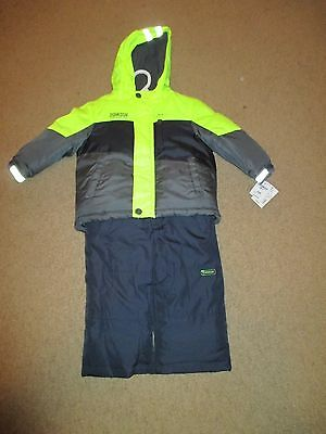 OshKosh Bgosh Boy's Winter Snow Suit Black Grey Neon Yellow NEW 18 months