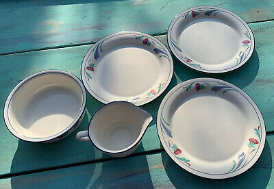 "3 Lenox Poppies on Blue Chinastone 8 1/4"" Salad Plates Made in USA bonus creamer"