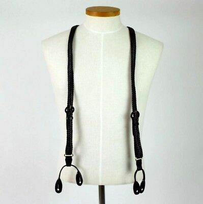 Vintage 80s Black Woven Leather Suspenders Braces Braided Retro Belted