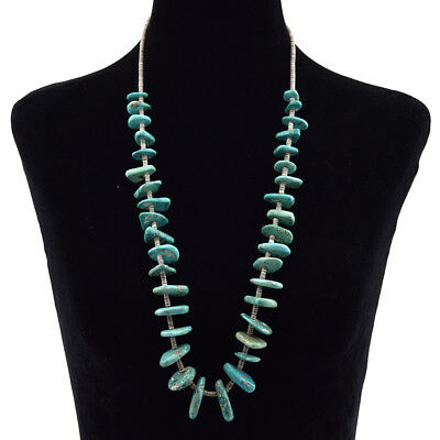 """Navajo Natural Turquoise and Heishi Necklace, c. 1940s-50s, 32"""""""