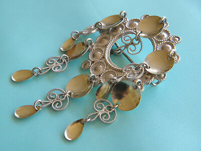 BEAUTIFUL NORWEGIAN MODERNIST SOLID SILVER 830s MARRIAGE ROMANCE BROOCH