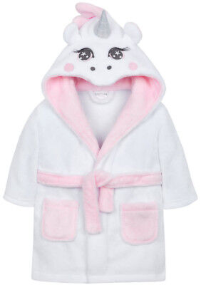 Personalised Baby Girls Unicorn Dressing Gown Robe Fluffy Hooded Bath Novelty