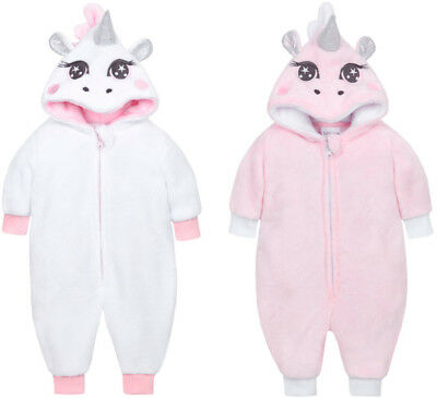 PERSONALISED Baby Girls Unicorn Sleepsuit All In One Fluffy Hooded Novelty Soft
