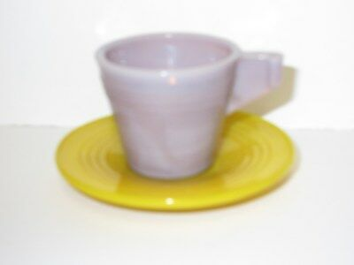 Akro Agate Chiquita Child's Purple Cup & Yellow Saucer Set / 4 Sets Available