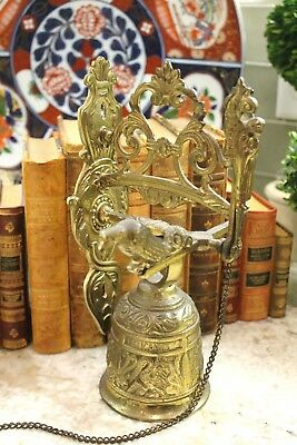 Antique English Hanging Brass Shop Bell Church Sanctuary Dinner Garden Gate Bell