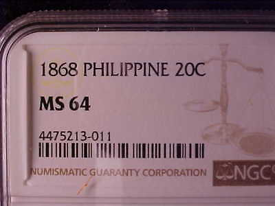 Philippines 20 Centimos 1868 Ngc Ms 64