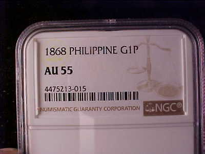 Philippines Gold One Peso 1868 Ngc Au 55