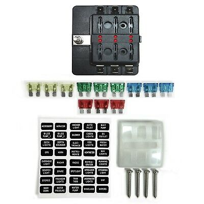 6 Way 12V Blade Fuse Box Distribution Block LED UTV RZR Wildcat Rhino Viking X3