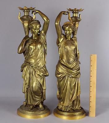 Large Antique 19thC Neoclassical Gilt Bronze Classical Woman Statue Sculpturesn