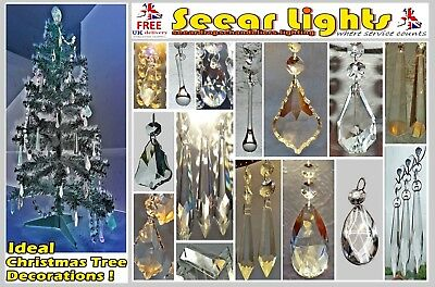 5 Chandelier Droplets Crystals Cut Glass Parts Christmas Tree Decorations Beads