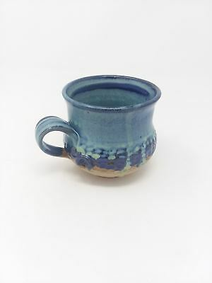 Textured Hand Made Stoneware Pottery Coffee Mug Cup Gloss Blue Teal Tan Glaze