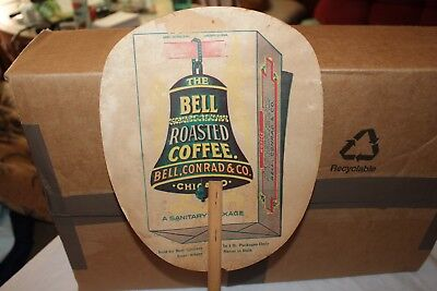 Vintage c.1900 Bell Coffee General Store Gas Oil Hand Fan Sign