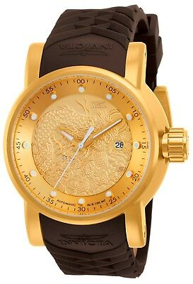 12790 InvictaS1 Rally AUTO Dragon Yakuza Gold Tone Dial Brown Poly Strap Watch