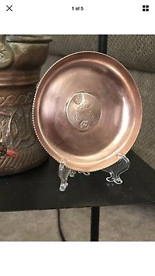 Antique Islamic Turkish Solid Copper Dish With Mounted Coin