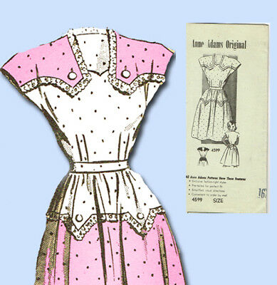 1940s Vintage Anne Adams Sewing Pattern 4599 Uncut Misses Day Dress Size 34 Bust