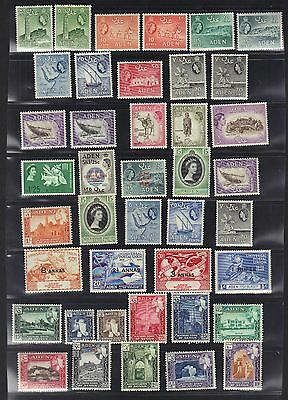 ADEN 1953 COLLECTION OF 40 MINT TO 20sh MOST NEVER HINGED FEW LIGHT HINGE