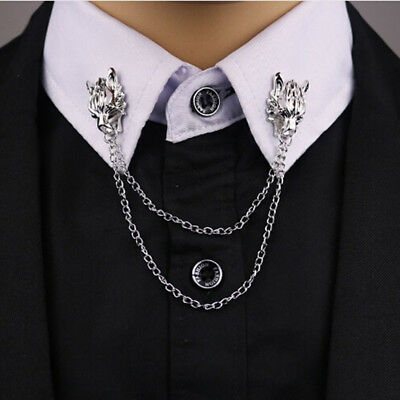 New Solid Brooch Pin Brooches For Men Suit Collar Wolf Head Shirt Accessories