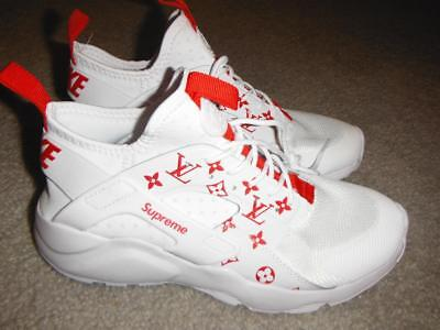 sneakers for cheap d257b 72ef0 Nike Air Huarache Run Ultra CUSTOM White Red Sz 10 MEN 819685-101