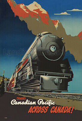 Canadian Pacific Railway Across Canada! 1947 Advertising Poster