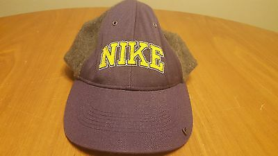 Vintage Nike wool Blend Hat Strap Cap Embroidered Lettering Swoosh on Bill 36fda93aa7a