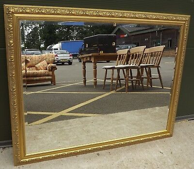 Large Decorative Gilt-Framed Wall Mirror in the Antique Style (115cm x 89cm)