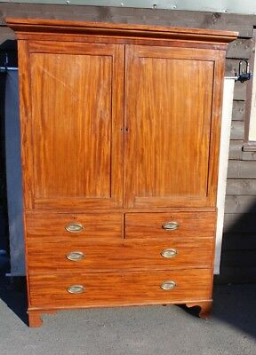 1880's  Mahogany Linen Press with 4 Original Slides and Drawers