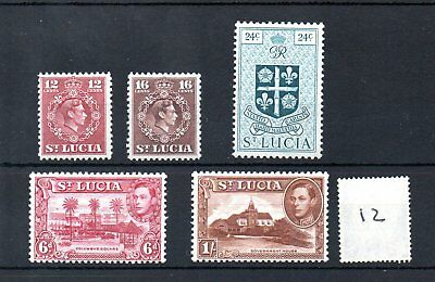 ST. LUCIA (12) 1938/49- GEORGE V1 - selection - MINT - SG Cat £15