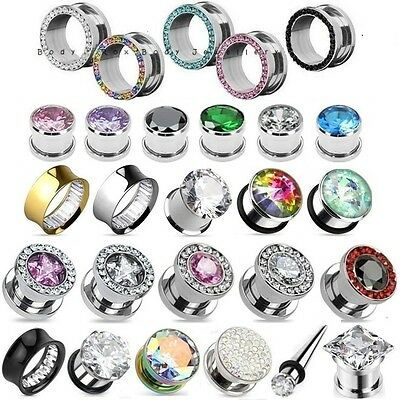 Gem Flesh Tunnel, Crystal Ear Stretcher Plug Expander - Choose Colour & Size