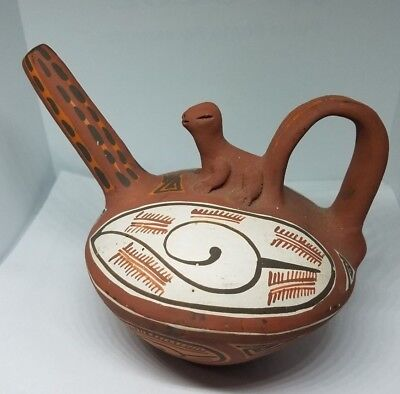 Antique Signed  PERUVIAN POTTERY VESSEL