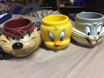 Taz, Tweety Bird And Bugs Bunny  Promotional Partners 1992 Rare CoffeeMugs All 3
