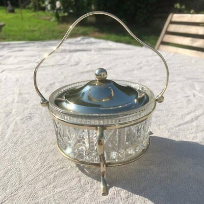 Antique Edwardian Dish, Silver plated with a cut glass bowl.