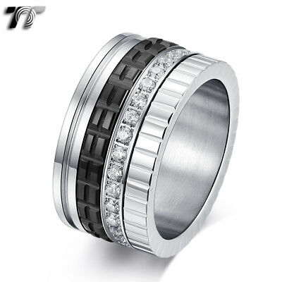 TT 12mm Width Spin Stainless Steel Ceramics Band Ring (R416D) NEW