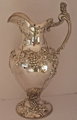 Huge Art Nouveau Figural Sterling Hand Chased Grapevine Water Pitcher Shreve Sf