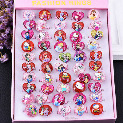 1/5 Pcs Children/Kids Mixed Lots Cartoon Plastic Rings Jewelry Girl's Toy Gifts