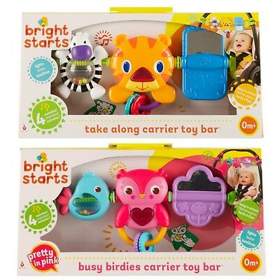 Bright Starts Take Along Discovery Toy Bar Fits Car Seat Tiger Pink Bird