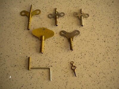Antique Clock Keys plus 1 fob watch key