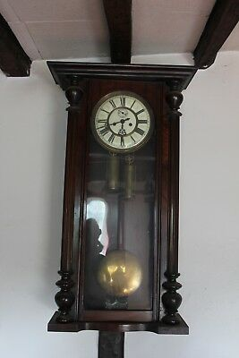 Vienna Wall Clock, Double Brass Weights With Key Winder