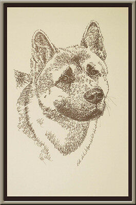 AKITA DOG ART Signed Stephen Kline Lithograph #59  Your dogs name added free.
