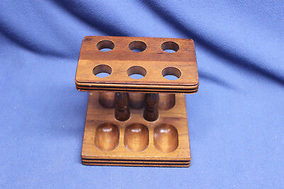 Vintage Wooden 6 Smoke Pipe Stand Wood Holder Table Display