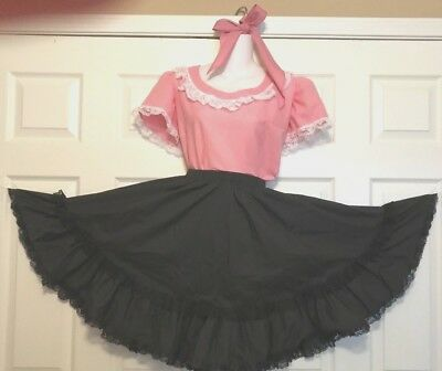 Round & Square Dance Blouse & Tie Pink & Skirt Black S/m
