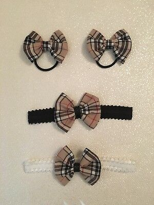 Beautiful Burberry Tartan White Crochet Stretch headband /  Bobbles  With  Bow..