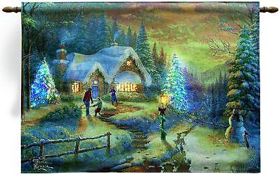 """Country Christmas Homecoming Fiber Optic Wall Tapestry by Kinkade 36"""" x 26"""""""