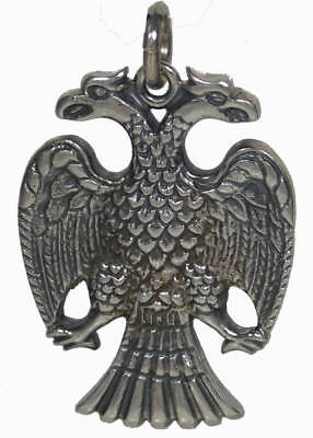 Double Headed Eagle Sterling Silver Pendant - Byzantine Empire