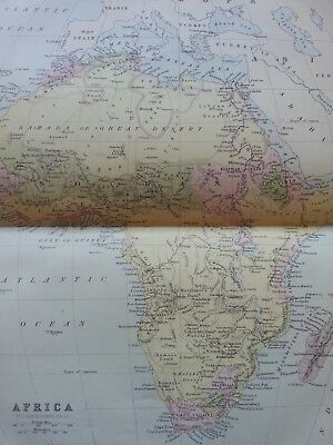 Antique Print Dated 1880 Map Of Africa Colour Map Of The World Atlas Globe