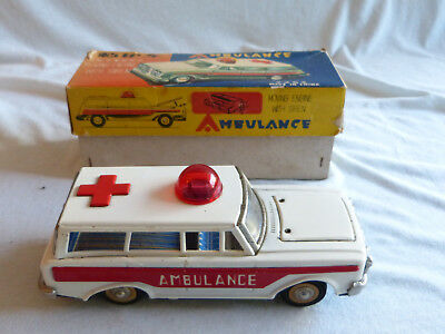 Red China MF 111 Ambulance Car Friction Blech Spielzeug Tin Toy 70er Jahre Ovp