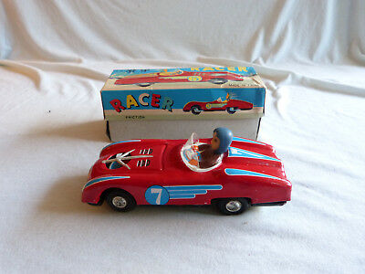 Red China MF 800 Racer Car Friction Blech Spielzeug Tin Toy 70er Jahre Ovp